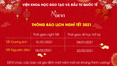 DEVI thông báo lịch nghỉ Tết Dương lịch và Tết Nguyên đán 2021
